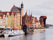 Gdansk Cityscape and Moltawa River in Poland Royalty Free Stock Image