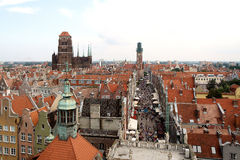 Gdansk in the clouds. Aerial view of the Basilica of St. Mary's in Gdansk, Poland Stock Photo
