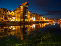 Gdansk crane by night Royalty Free Stock Images