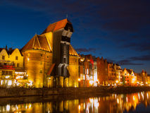 Gdansk crane by night Stock Photography