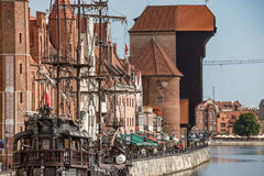 Gdansk, Danzig an old medieval polish and german city, the old town and the old granary - Krantor. Stock Photography