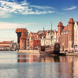 Gdansk, Danzig an old medieval polish and german city, the old town and the old granary - Krantor. Stock Images