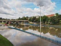 Gdansk - 15 de julio: Calles inundadas después de fuertes lluvias Fotos de archivo