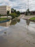 Gdansk - 15 de julio: Calles inundadas después de fuertes lluvias Fotos de archivo libres de regalías
