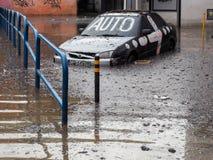 Gdansk - 15 de julio: Calles inundadas después de fuertes lluvias Foto de archivo