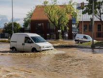 Gdansk - 15 de julio: Calles inundadas después de fuertes lluvias Imágenes de archivo libres de regalías