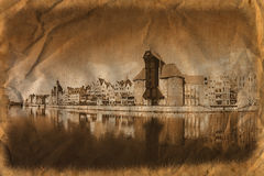 Gdansk de la orilla en estilo retro Fotografía de archivo libre de regalías