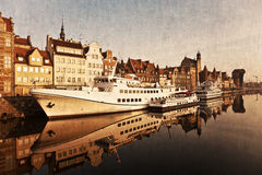 Gdansk de la orilla en estilo retro Imagen de archivo