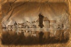 Gdansk des Flussufers in der Retro- Art Lizenzfreie Stockfotografie