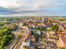Gdansk - downtown from the bird`s eye view. Gdansk city landscape with horizon. Photos of drones. Aerial view of Gdansk with old buildings and monuments stock photos
