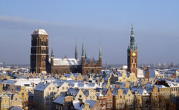 Gdansk downtown landmarks in the winter Stock Photos
