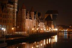 Gdansk en la noche Imágenes de archivo libres de regalías