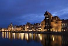 Gdansk en la noche, Polonia Foto de archivo