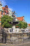 Gdansk with fountain in Poland. Cityscape of Gdansk with fountain in Poland Stock Images