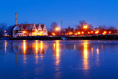 Gdansk with frozen Motlawa river, Poland Royalty Free Stock Photo