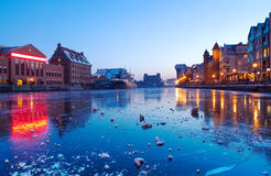 Gdansk with frozen Motlawa river, Poland Stock Images