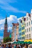 Gdansk-gammal Stad-lång marknadsgata Arkivbild