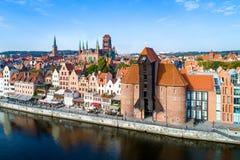 Gdansk gammal stad, Polen flyg- sikt Arkivfoton