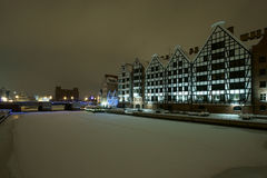 Gdansk granaries. Winter view of the restored barns in Gdansk Motławie Royalty Free Stock Image