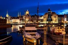 Gdansk hamn på natten, Polen Royaltyfri Fotografi
