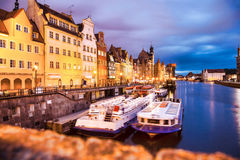 Gdansk with harbor in the evening, Poland Stock Images
