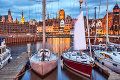 Gdansk with harbor in the evening, Poland Stock Photos