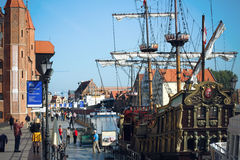 Gdansk harbor at Motlawa river. Poland Royalty Free Stock Photo