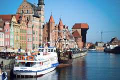 Gdansk harbor at Motlawa river. Poland Stock Photos