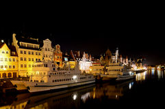 Gdansk harbor at night Stock Photos