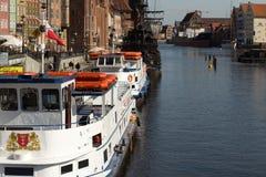 Gdansk harbor, Poland. Gdansk, Poland - 22 April, 2013 - Ships in harbor and historic city of gdansk (danzig) in Poland Stock Photography