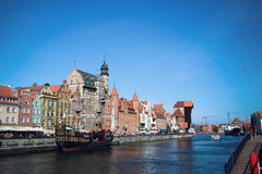 Gdansk Harbor, Poland old town, Motlawa river. Famous Zuraw crane Royalty Free Stock Image
