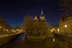 Gdansk - the historic Polish city seen at night Royalty Free Stock Photo