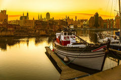 The Old Town in Gdansk, Poland. Gdansk - the historic Polish city at sunset Royalty Free Stock Photo