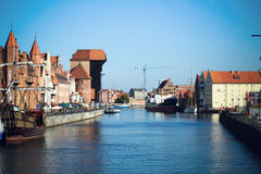 Gdansk houses of Old Town Gdansk Harbor, Motlawa river. Famous Zuraw crane Royalty Free Stock Images