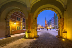 Gdansk i snöig vinter, Polen Arkivfoton