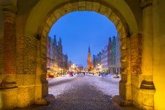 Gdansk i snöig vinter, Polen Arkivfoto