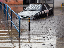 Gdansk - 15. Juli: Überschwemmte Straßen nach starkem Regen Stockfoto