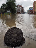 Gdansk - 15. Juli: Überschwemmte Straßen nach starkem Regen Stockbild