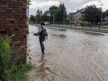 Gdansk - July 15: Flooded streets after heavy rains Royalty Free Stock Photo