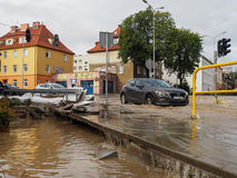 Gdansk - July 15: Flooded streets after heavy rains Stock Images