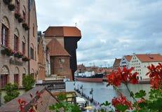 Gdansk-Kran und -fluß Stockbild