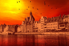 Sunset in the city. Gdansk in the light of the setting sun, Poland Royalty Free Stock Photo