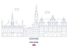 Gdansk linjär stadshorisont Royaltyfri Foto