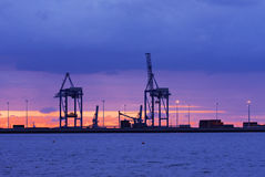 Gdansk load port. After sunset Royalty Free Stock Photography