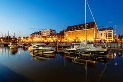 Gdansk Marina, Poland. Gdansk, Poland - May 10, 2018: Sailboats and luxury yachts moored in marina in Gdansk, Poland Royalty Free Stock Image