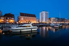 Gdansk Marina, Poland. Gdansk, Poland - May 10, 2018: Sailboats and luxury yachts moored in marina in Gdansk, Poland Stock Images