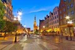 Gdansk met stadhuis bij nacht Stock Afbeelding