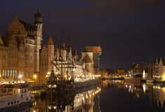 Gdansk na noite, Polônia Fotos de Stock