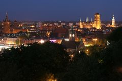 gdansk nattpanorama Arkivbilder