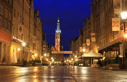 Gdansk at night. Long Street in Gdansk at night - Poland Stock Images